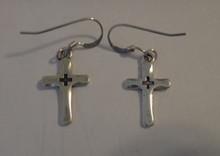 Sterling Silver small 18x11mm Cross in Cross on 13mm Wire Earrings