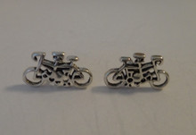 Sterling Silver Small 7x13mm Small Tandem Bicycle Bike Stud Studs Earrings