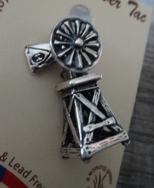 Sterling Silver 3D 20x8mm Movable Old Style Water Pumping Windmill Tie Tack Pin