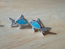 Sterling Silver TINY 8x11mm Turquoise chip Blue Fish Studs Stud Earrings