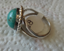 size 7.5 Sterling Silver 5g 16mm Round dark Turquoise on 2mm wide band Ring