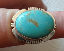 size 8 Sterling Silver 10gram 25x20mm oval Blue Turquoise on 3mm wide band Ring