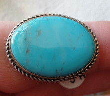 size 9 Sterling Silver 8g 28x14mm oval Blue Turquoise on 4mm wide band Ring