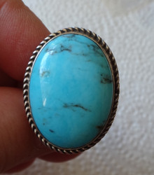 size 8 Sterling Silver 9g 28x14mm oval Blue Turquoise on 3.5mm wide band Ring
