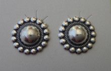 Sterling Silver 14mm puffy Round with ball decor around edge Stud Post Earrings