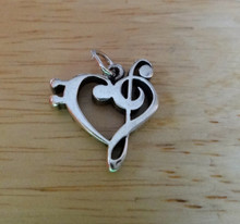 Sterling Silver 17x17mm Bass Clef and Treble Clef in Heart Shape Music Charm
