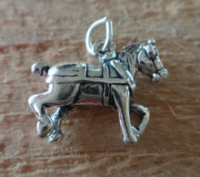 Sterling Silver 3D 14x20mm Work Belgian Draft Clydesdale Horse with Harness Charm