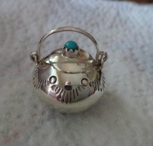 Sterling Silver Turquoise Miniature movable handle & lid 19mm Bean Pot Navajo