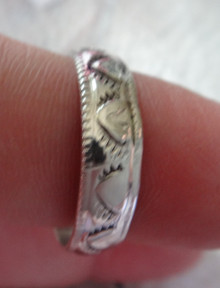 size 13 Sterling Silver Stamped design Handcrafted Navajo 6mm wide Band Ring