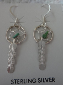 Sterling Silver 40mm Dreamcatcher Feather Turquoise Handcrafted Navajo Earrings