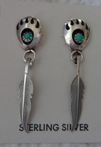 Sterling Silver 40mm Bear Paw Feather Turquoise Handcrafted Navajo Stud Earrings