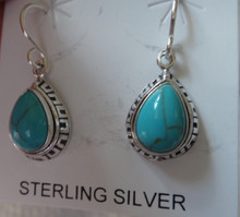 Sterling Silver 26x10mm Decorated Teardrop shape Turquoise Color Wire Earrings