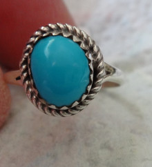 size 7 Sterling Silver 9x7mm Turquoise Stone Rope edge Handcrafted Navajo Ring
