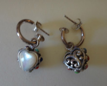 Sterling Silver 18x13mm Reversible White Mother o Pearl Heart 14mm hoop Earrings