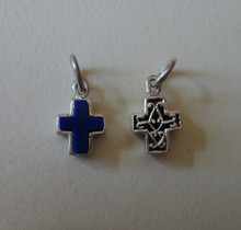1 3D Sterling Silver TINY 11x8mm Reversible Blue Stone Cross Charm!