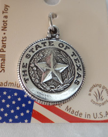Sterling Silver 18mm diameter Says State of Texas on Seal with Star Charm