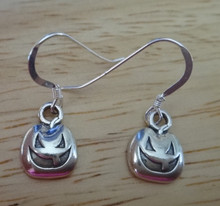 Sterling Silver Small 12x8mm Halloween Jack-O-Lantern on 15mm Wires Earrings