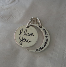 Sterling Silver 18x18mm 4g Movable says I Love You to the Moon and Back Charm
