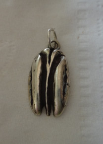 Sterling Silver 21x11mm Food Pecan Nut Charm concave bottom