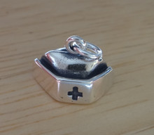Sterling Silver 3D 13x16x8mm LVN RN Nurse's Cap Hat with Medical Cross Charm