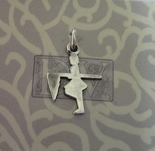 Sterling Silver 17x13mm Flag Corps Color Guard Girl Flag Charm