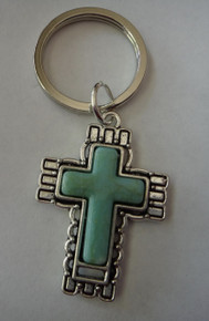 Pewter 41x29mm Turquoise Color in Pretty Cross on a 27mm Keychain Keyring