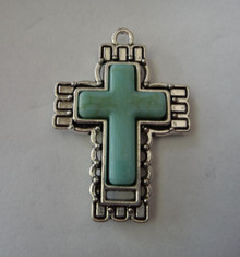 Pewter Silver 41x29mm Turquoise Color faux stone in Pretty Cross Charm Pendant