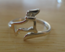 size 7-8 Adjustable Sterling Silver Open Dachshund to wrap around tail Dog Ring