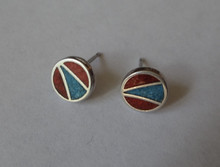 Sterling Silver TINY 8mm Blue & Red Stone chip Inlaid Flat Round Studs Earrings