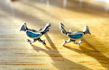 Sterling Silver Small 11x7mm Blue Inlaid Roadrunner Stud Studs Post Earrings!