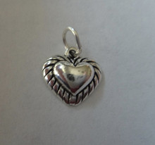 Sterling Silver 3D Small 11x11mm Rope Edge Heart Charm! concave back