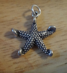 Sterling Silver 3D 20x20mm Starfish Seashell Shell Beach Charm curled tips