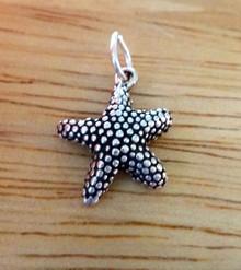 Sterling Silver 3D small 13x16mm Starfish textured Seashell Shell Beach Charm