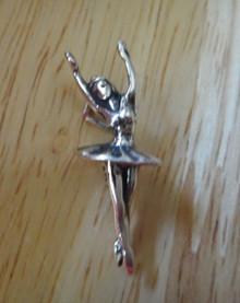 Sterling Silver 3D 10x25mm Ballerina Ballet Dancer arms up Charm!