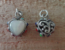 Sterling Silver 3D 16x13mm Reversible White Mother of Pearl Heart + stones Charm