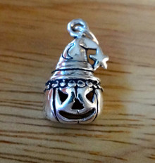 Sterling Silver 20x11mm Halloween Jack-O-Lantern with Witch Hat Moon Star Charm