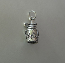 Sterling Silver 3D 16x8mm says Water on Bottle & strap Hiking Camping Gym Charm