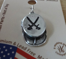 Sterling Silver 3D 18x10mm Civil War Confederate Rifle Crossed Sabers Cavalry Soldier Hat Charm