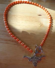 "18"" Silver University of Texas Longhorn Mascot Orange Fresh Water Pearl Necklace"