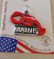 16x20mm says Maine with a Red Enameled Lobster Sterling Silver Charm