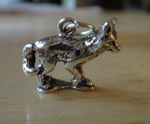 Sterling Silver 3D 15x17mm Grey Gray Artic Red Fox Wolf Coyote on a base Charm