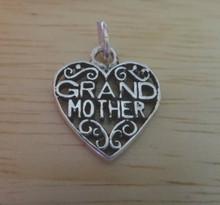Sterling Silver 18x16mm Filigree Grandmother Heart Charm!
