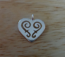 Sterling Silver Small 14x15 mm Cut out Swirls in flat Heart Charm!