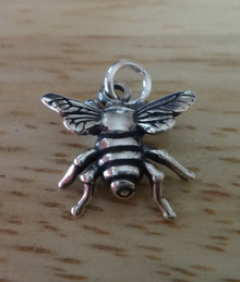 Sterling Silver 3D 15x14mm Flying Honey Bee or Fly Insect Charm