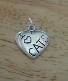 Sterling Silver Small 14x12mm Solid Heart says I Love (Heart) Cats Charm