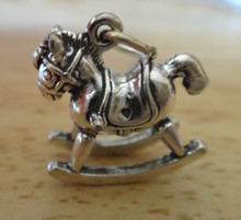 Sterling Silver 3D 18x15mm 4.9 gram solid Baby Rocking Horse Charm