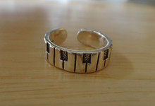 Sterling Silver 5mm wide band music Piano Keys design all around Toe Ring