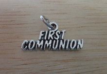 Sterling Silver 20x10mm Eucharist says First Communion Charm