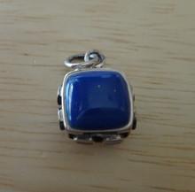 Sterling Silver 3D 16x13mm Reversible Blue stone plus 8 stones Charm