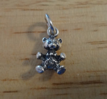 Sterling Silver Tiny 15x9mm 3D Solid Teddy Bear Animal Charm